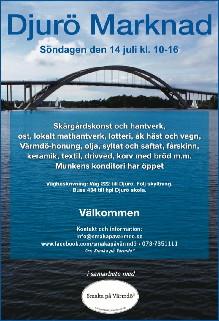 Djurö Marknad 14 juli 10-16